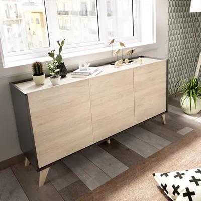 Aparador mueble auxiliar Nela grafito y natural