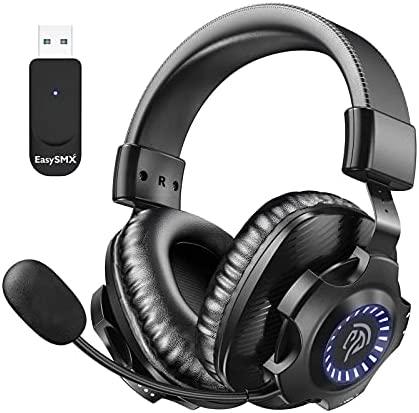 Auriculares Gaming Inalámbricos PS5 PS4, [Regalos] EasySMX 2.4G Cascos Gaming Inalámbrico Estéreo con Micrófono, Control de Volumen y RGB Luz Para PC, MAC, PS5 y PS4, Headset Gaming Wireless