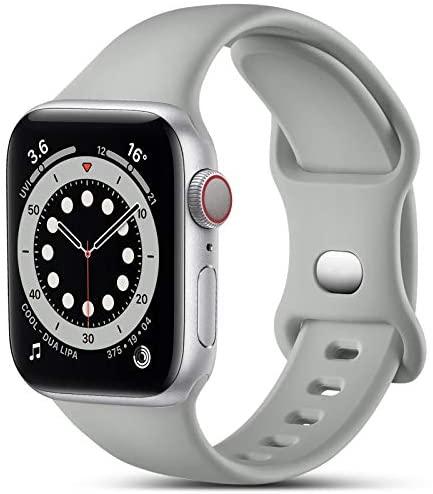 CeMiKa Compatible con Apple Watch Correa 38mm 40mm 41mm 42mm 44mm 45mm, Deportivas de Silicona Correas de Repuesto Compatible con iWatch SE Series 7 6 5 4 3 2 1, 42mm/44mm/45mm-M/L, Gris