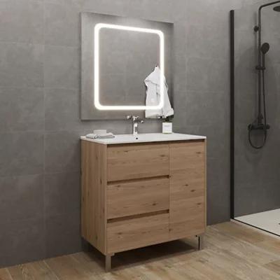 Mueble de baño con lavabo y espejo roble claro