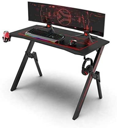 Dripex Mesa Gaming, Mesa para Juegos, Escritorio Juegos con Gran Superficie de Fibra Carbono, Soporte Bebidas, Gamepad Auriculares, 110x75x55 cm, Negro