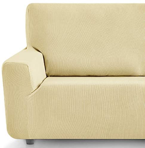 Eiffel Textile Funda Sofa Elastica Protector Adaptable Rústica Sofá, Beige, Pack 3+1+1 Plazas