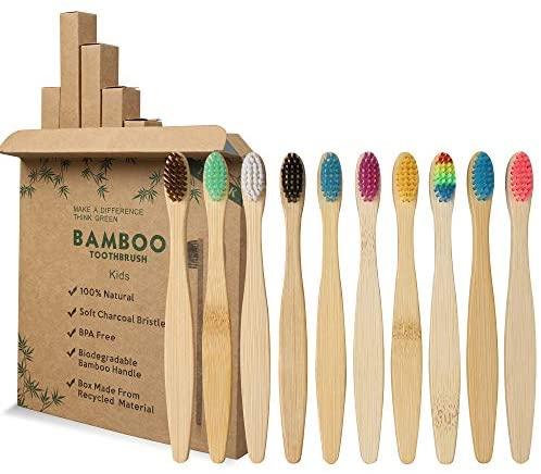 GeekerChip Cepillos de Dientes de Bambú para Niños,Paquete de 10 Cepillo de Dientes Bambú di Cerdas Suaves y Respetuosos con el Medio Ambiente Cuidado con Biodegradable-10 Colores