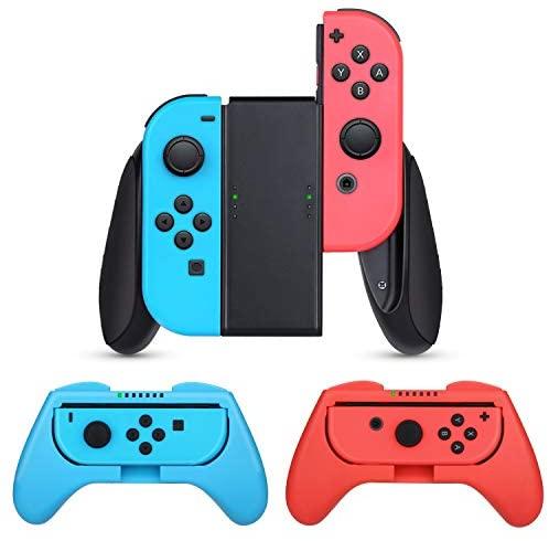 HEYSTOP Grips Compatible con Nintendo Switch y Switch OLED (3 Piezas), Estuche Protector Handle Kits para Mandos Grip Set Compatible con Nintendo Switch Controller,Rojo & Azul