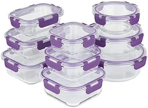Home Planet Recipientes de Cristal Para Alimentos  Tapers de Cristal  Recipiente Cristal  18 Piezas  Tapas Mejoradas  SIN envases de plástico  Sin BPA  Recipientes Hermeticos Alimentos