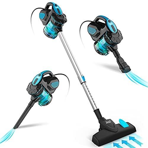 INSE Aspirador con Cable, Aspiradora Escoba de Succión Poderosa de 18kPa, Aspiradora Escopa 3 En 1 Vertical y de Mano para Hogar, Sofas, Mascotas, 600W, 1L, Hepa Filtro Lavable (Azul)