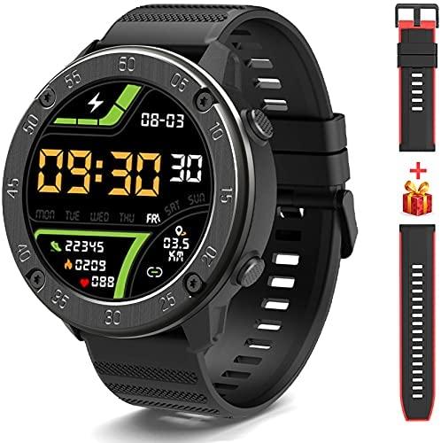 IOWODO X5 Smartwatch, Reloj Inteligent Hombre – Impermeable IP68  Esfera de Reloj de DIY  Tiempo  Caloría  Pulsometro  Sueño  9 Deportes, Smartwatch Hombre para Android e iOS (2 Correas)