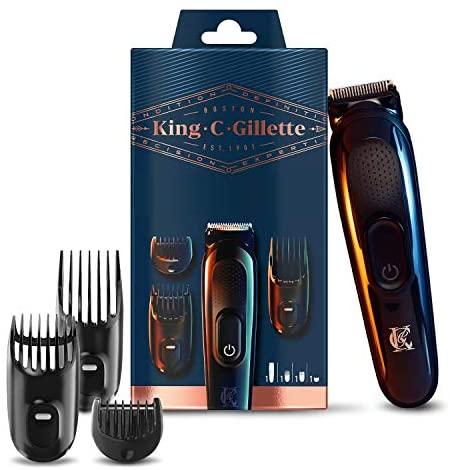 King C. Gillette Recortadora de Barba y Cortapelos Inalámbrica Hombre con Cuchillas de Larga Duración + 3 Peines Intercambiables, Regalos Originales para Hombre