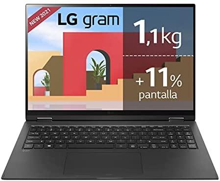 "LG gram 16Z90P Windows 10 Home, Ultraligero de 40.6 cm (16"") WQXGA 16:10 IPS (1.2 Kg, autonomía 16.5h, Intel EvoTM i7 11ª Gen., Iris Xe, 32GB RAM, 1TB SSD NVMe), Teclado Español, Negro"
