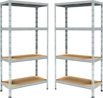 Lote 2 estanterías metálicas en kit de 180x90x40cm y carga max. 200kg por balda