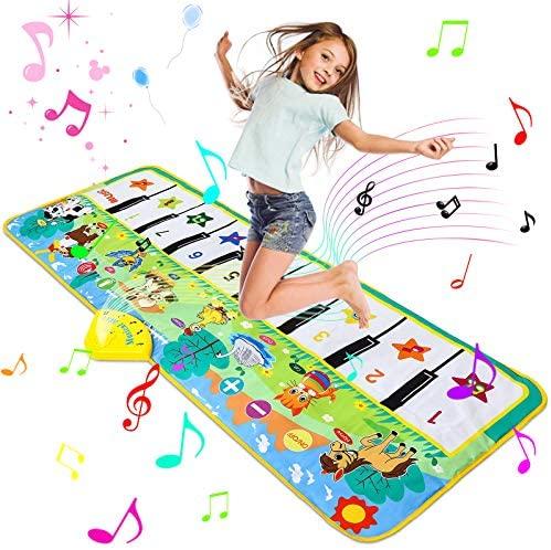 Luchild Alfombra Musical, Alfombra Piano para Niños Alfombrilla de Baile Teclado Estera de Alfombra Touch Juego Musical Portátil Educativo Musical Tapete, Juguete Electrónico Regalos – 130 x 48cm