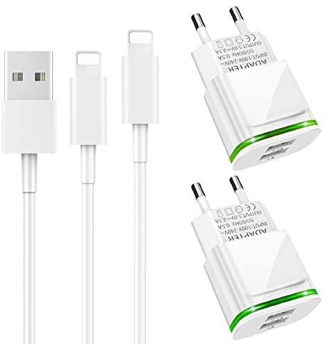 LUOATIP Cargador Phone, 4-Pack 2M Cable + Dos Enchufe USB 2.1A/5V Movil Adaptador Compatible con iPhone 11 XS XS MAX/XR/X 8/7/6/6S Plus 5S/SE/5C, Pad Air Mini Pro, Pod
