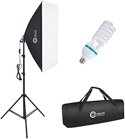 OMBAR Softbox Iluminacion Kit Fotografia con 1 Softbox 50×70cm y1 Bombilla de Luz 135W 5500K E27 y 1 Bolsa de Transporte, para Videos de Retrato de Estudio, Luz para Estudio Fotográfico Profesional