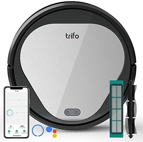 Robot Aspirador, Aspirador Robot Potente Trifo, Poder de Sanción 3000 Pa, Ilimpiar el Pelo del Animal, 600 ML de Cubo de Polvo, Autocarga, Conectividad Wi-Fi, Controlado a través de Alexa/App Trifo