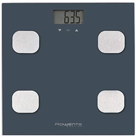 Rowenta Body Up BR2520 – Báscula de baño con medidor de grasa corporal e IMC que almacena hasta 8 perfiles de usuario, con una gran pantalla LCD, plataforma de vidrio, hasta 150 kg de capacidad