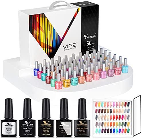 VENALISA – Kit de manicura con esmaltes de uñas de gel semipermanente VIP de 60 colores con tarjeta de color, capa base y capa superior, con secado mediante UV/LED, para hacer tu propia manicura