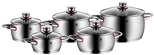 WMF Quality One – Batería de Cocina, 4 Piezas, Cacerola con Tapa 20 cm (3.4 l), 3 ollas bajas 16 cm (2 l), 20 cm (4.1 l) y 24 cm (6.8 l) con Tapa