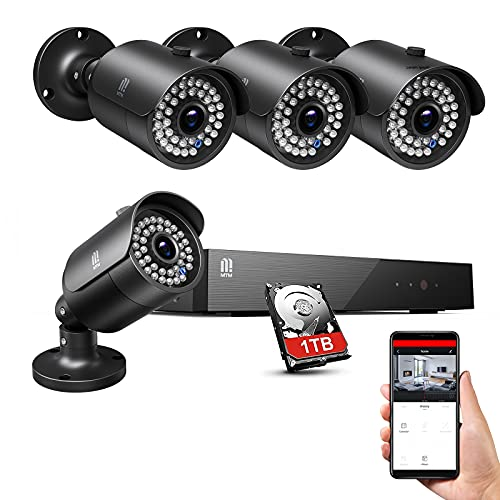 5MP kit camaras de vigilancia Exterior Full HD H.265+ Sistema de Seguridad 8CH DVR Cámara Vigilancia con 4 Cámaras, 30M Visión Nocturna, Detección de Movimiento, Monitoreo Remoto, 1TB HDD