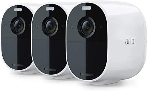 Arlo Essential Spotlight, 3 cámaras vigilancia WiFi 1080p, detector de movimiento, visión nocturna en color, audio bidireccional, 180 días de batería, no necesita SmartHub, funciona con Alexa, Blanco