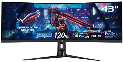 ASUS ROG Strix XG43VQ – Monitor Gaming de 43'' ultrapanorámico HDR (3840×1200, 32:10, 120 Hz, 1 ms, Freesync Premium Pro, DisplayHDR 400, 90% DCI-P3, Shadow Boost) Negro