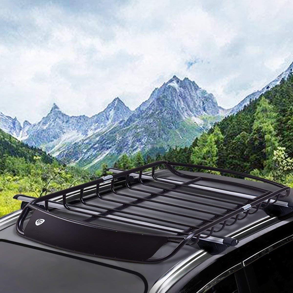 Baca de Coche Vehículo Metal Universal Portaequipajes Techo de Automóvil para Transporte 120 x 98 x 17 cm  Negro