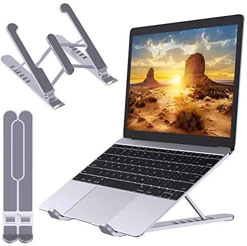 """Babacom Soporte Portatil Mesa Plegable, Elevador Laptop Stand con Altura Ajustable, Soporte Ordenador Portátil de Aleación de Aluminio Ventilado Compatible con MacBook Lenovo HP PC 10-16"""" (Plateado)"""