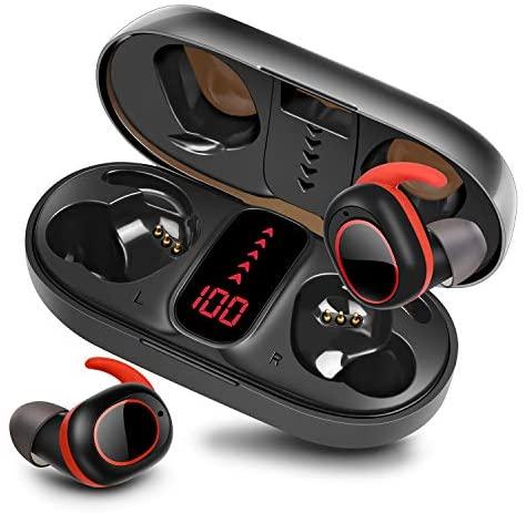 bakibo Auriculares Inalámbricos Bluetooth 5.1, Deportivos Auriculares con Micrófono IPX7 Verdadero Sonido Estéreo Auriculares LCD Estuche de Carga 800mah, 40 Horas de Duración, Control Táctil