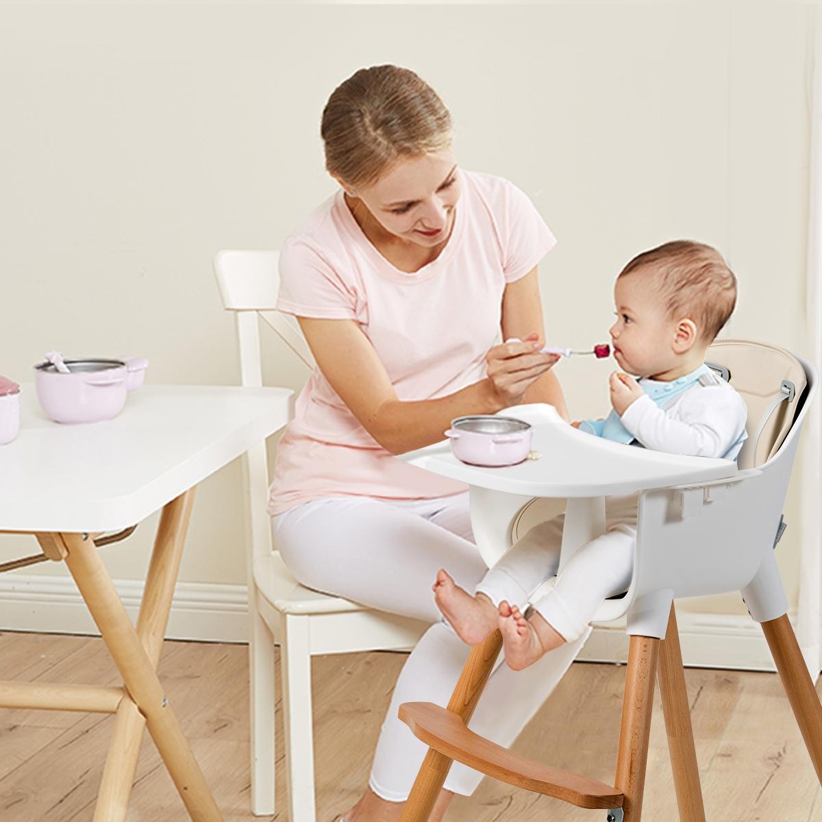 Trona para Bebé Trona Convertible Multifuncional con Bandeja Removible Arnés de 5 Puntos Cojín Acolchado Altura Ajustable para Bebé de 6 a 36