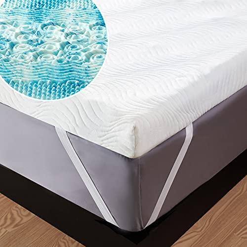 Bedsure Topper 150×190 Viscoelastico Colchon – Cubre Colchon 150×200 Memory Foam Mattress, Sobrecolchon Espuma con 1 Funda Extraíble y Lavable, Colchoncillo Efecto Memoria Hipoalergénico