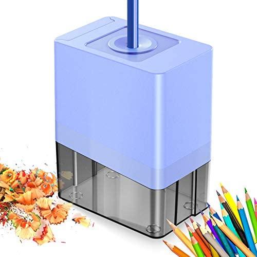 Cocoda Sacapuntas Electrico, Automático Pencil Sharpener con Hoja Helicoidal de Alta Resistencia, Diseño de Seguridad, Alimentado por Adaptador de CA o 4 Pilas AA, para Niños, Escuela, Oficina en Casa