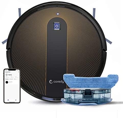 Coredy R750 Robot Aspirador y Fregasuelos 3 en 1, Wi-Fi, Compatible con Alexa y Google Home, Potente aspiración de 1600Pa, Ultrafino, silencioso, Barre, aspira y friega para Suelos Duros y Alfombras