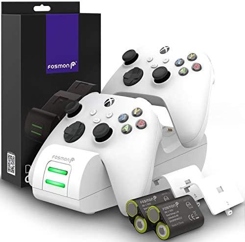 Fosmon Dual 2 MAX Cargador Compatible con Mando Xbox Series X/S (2020), Xbox One/One X/One S Elite Controller, (Doble Estación) Estación de Carga Rápida con 2x 2200mAh Ni-MH Batería Recargable -Blanco