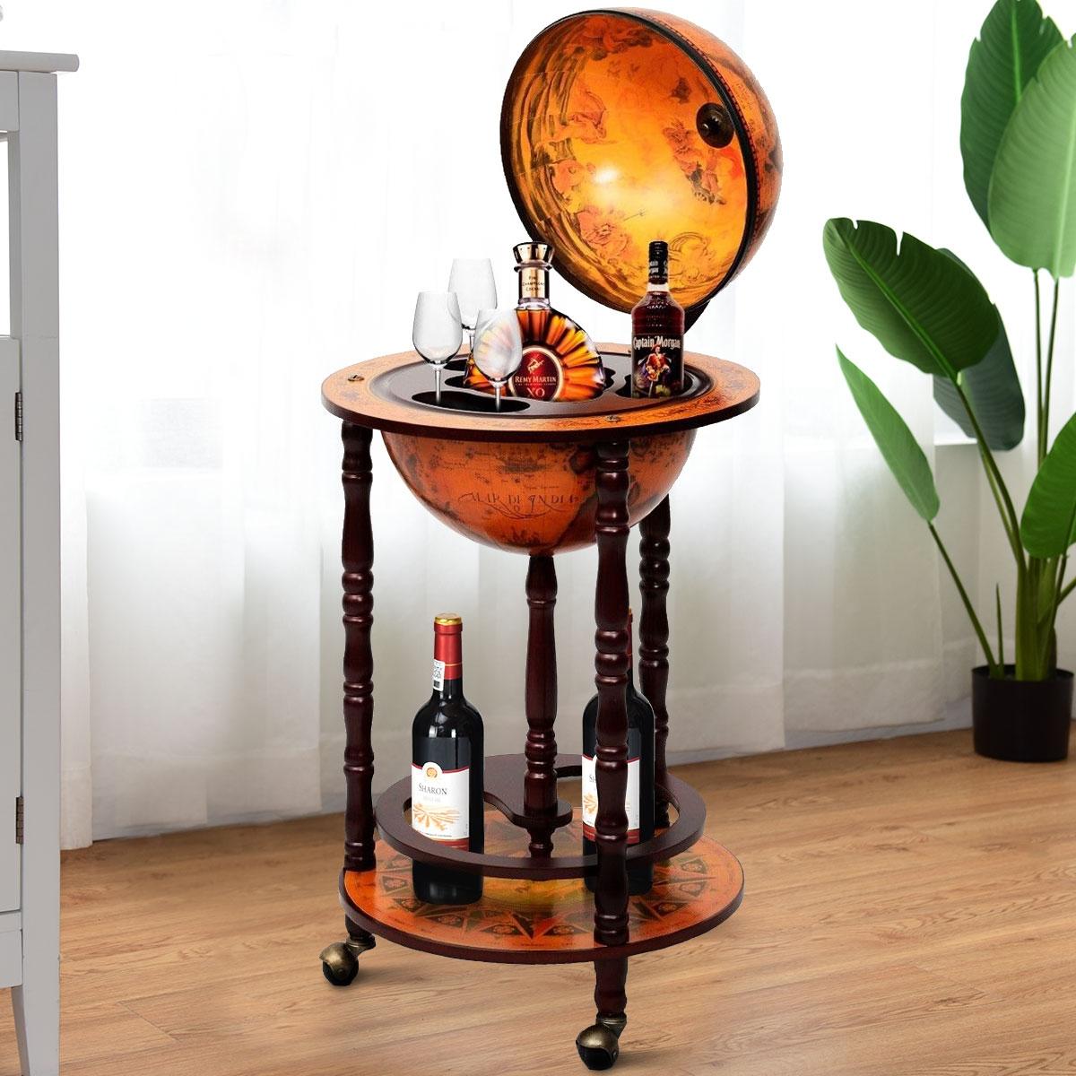 Globo Minibar Botellero Vintage Estante de Vino Carrito de Bar con Ruedas