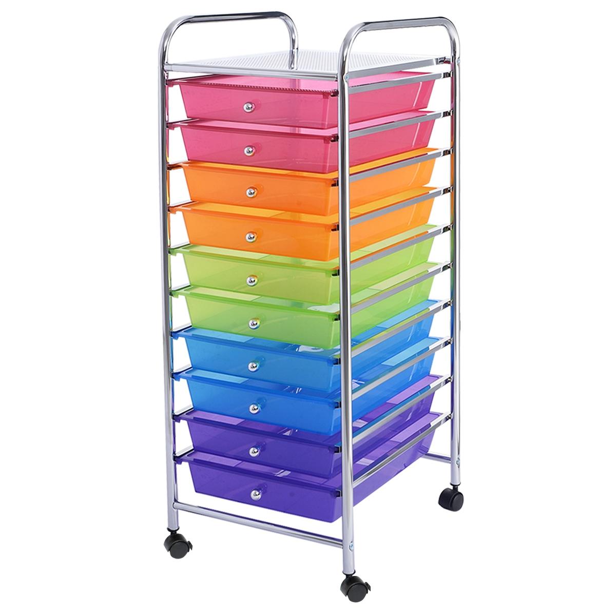 Carro de cajones multiuso con 10 cajones de oficina Contenedor con ruedas con 10 estantes para baño Multicolor