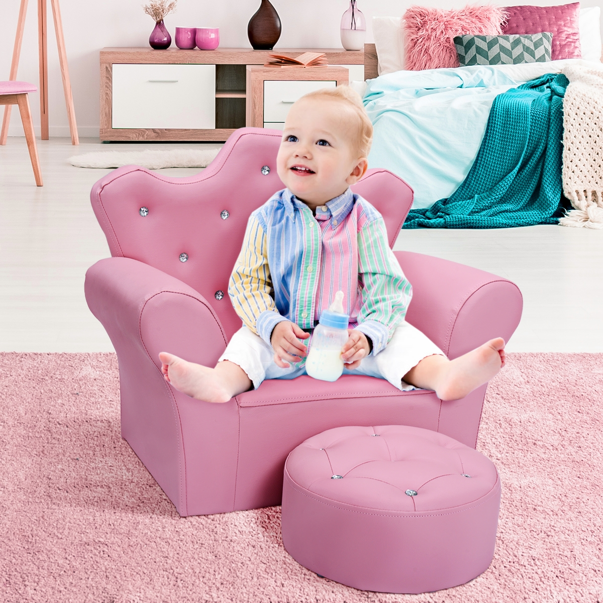 Sofá Infantil con Reposapiés Sofá para Niños Sofá Princesa Acolchada 58 x 31 x 49 cm Rosa