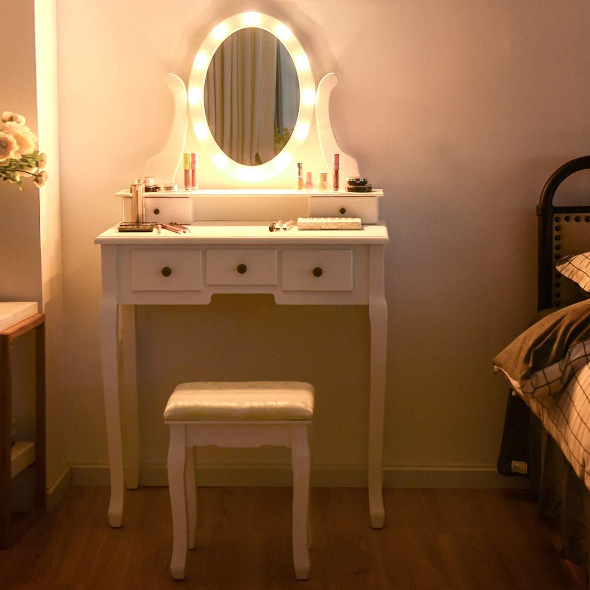 Tocador con Iluminación LED Tocador Maquillaje con Espejo y Taburete Mesa Cosmética con 5 Cajones Blanco