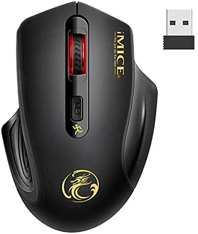 iAmotus Ratón Inalámbrico, 2.4GHz Wireless Ratón Silencioso Optico 3DPI de Ajustable con Nano USB Receptor de Mouse Ergonómico para Escritorio/Windows/Linux/Vista/PC/Mac