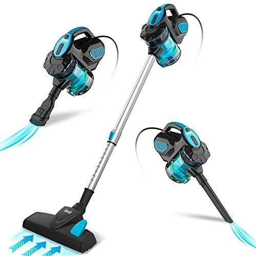 INSE Aspiradora de mano con cable, sin bolsa, 18 kPa, 600 W, con mango, con cable, 3 en 1, para suelos duros, pelos de animales en casa