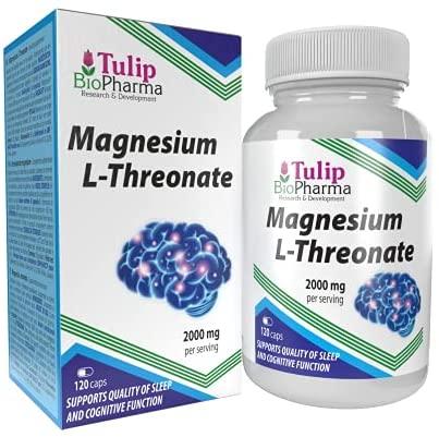 L-Threonate de magnesio 2000mg por dosis 120 cápsulas, certificado de análisis de AGROLAB Alemania, puro, sin rellenos ni sustancias de relleno