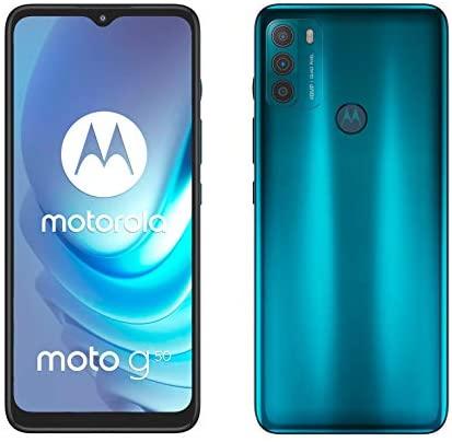 """Motorola Moto g50 (Pantalla de 6.5"""" Max Vision HD+, Qualcomm Snapdragon 480 2.0 GHz octa-core, cámara triple de 48 MP, batería de 5000 mAH, Dual SIM, 4/128 GB, Android 11), Verde [Versión ES/PT]"""
