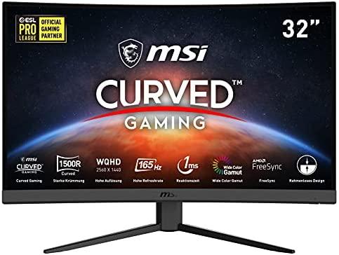 """MSI Optix G32CQ4 – Monitor Gaming Curvo de 31.5"""" LED WQHD 165Hz (2560 x 1440p, ratio 16:9, Panel VA, pantalla curva 1500R, 1 ms respuesta, brillo 250 nits, Anti-glare) negro, compatible con consolas"""