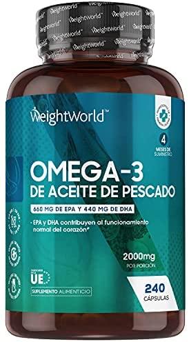 Omega 3 Cápsulas de Alta Dosis 2000mg, Aceite de Pescado Puro 240 Cápsulas – 660 mg de EPA + 440 mg DHA, Suministro de 4 Meses de Perlas Omega 3, Ácidos Grasos Omega 3 EPA y DHA de Alta Absorción