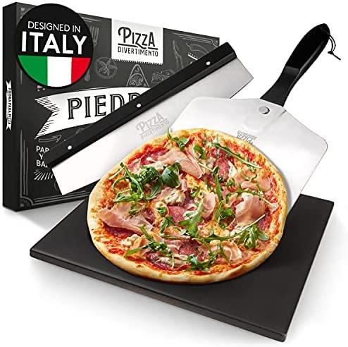 Pizza Divertimento – Piedra de pizza para horno y parrilla de gas – Con deslizador y cortador de pizza – Piedra de pizza de cordierita – Piedra de pizza base crujiente