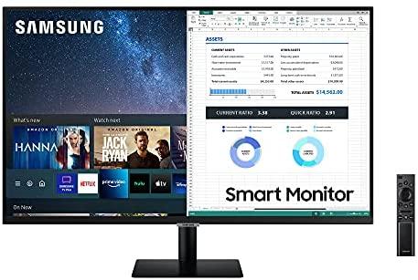 Samsung LS32AM502NRXEN – Monitor Smart de 32'' FullHD, 1920×1080, Smart TV Apps, TV Plus, Altavoces, WiFi, Bluetooth, VA, diseño sin Marcos, Negro