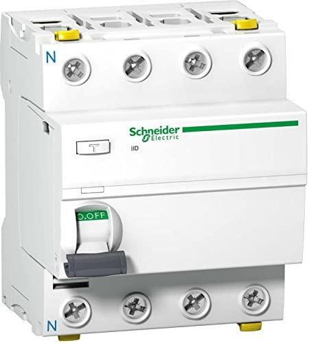 Schneider A9Z21463 Interruptor diferencial iID, 4P, 63A, 30 mA, Tipo A, Blanco