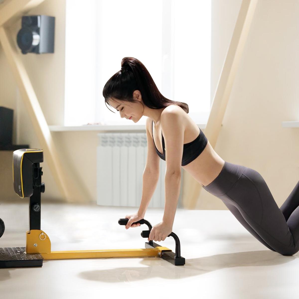 8 en 1 Máquina para Sentadillas Profundas Altura Ajustable Ejercicios Multifuncional para Gimnasio Hogar Carga hasta 100kg Amarillo y Negro 97