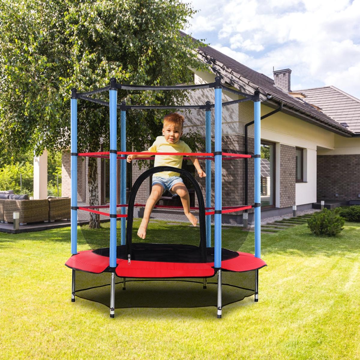 Trampolín con Red de Protección y Muelles Cama Elástica Redonda para Uso Interior y Exterior para Niños 140 x 163 cm
