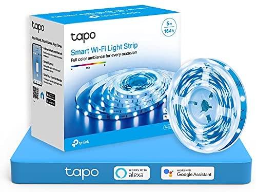 TP-Link Tapo – 5m WiFi Tiras LED de 12V, 16 Millones de Colores con 2100 mcd, Saludable para la Familia, Sincronización con Música, Compatible con Google y Alexa