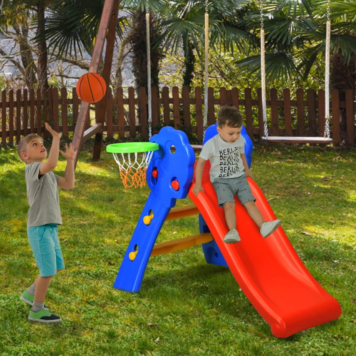Tobogán Infantil con Canasta de Baloncesto Tobogán Plegable para Niños 3-8 Años Tobogán en Jardín Hogar