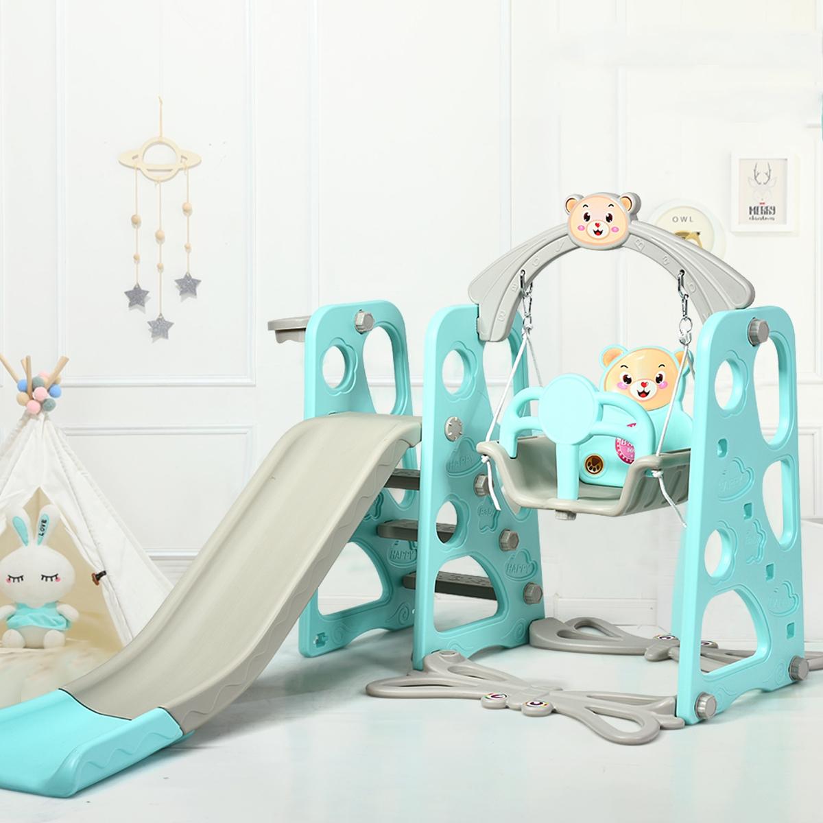 Equipo con Escalera para Escalada y Columpio para Niños Equipo 4 en 1 con Tobogán y Canasta para Jardín y Parque Infantil de Interior y Exteri